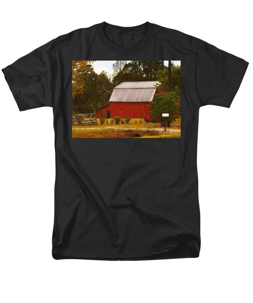 Men's T-Shirt  (Regular Fit) featuring the photograph Ozark Red Barn by Lydia Holly
