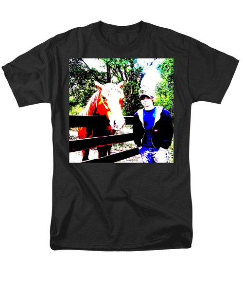 Men's T-Shirt  (Regular Fit) featuring the photograph a Boy and his Horse by George Pedro