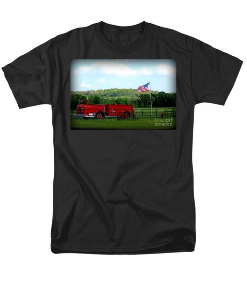 Men's T-Shirt  (Regular Fit) featuring the photograph A Tribute To The Fireman by Kathy  White