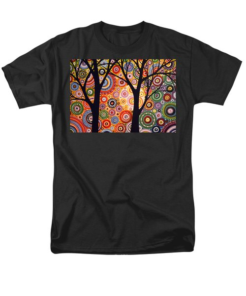 Men's T-Shirt  (Regular Fit) featuring the painting Abstract Modern Tree Landscape Distant Worlds By Amy Giacomelli by Amy Giacomelli