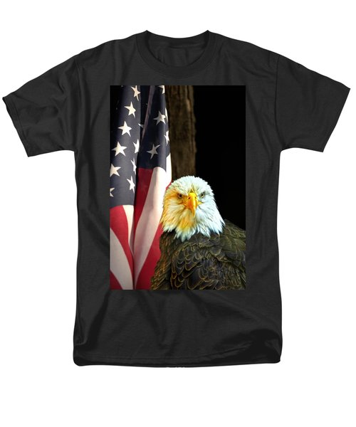 Men's T-Shirt  (Regular Fit) featuring the photograph American Eagle And American Flag by Randall Branham