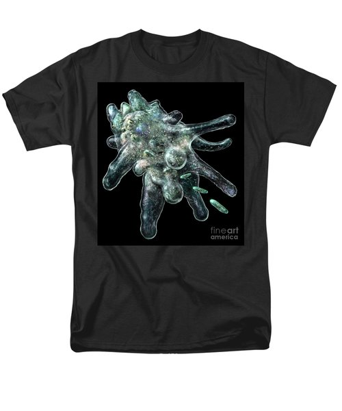 Men's T-Shirt  (Regular Fit) featuring the digital art Amoeba Black by Russell Kightley