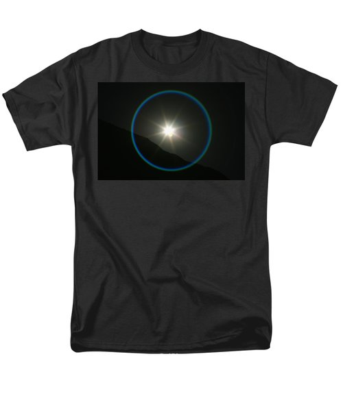Men's T-Shirt  (Regular Fit) featuring the photograph Annular Solar Eclipse - Blue Ring At Vasquez Rocks by Lon Casler Bixby