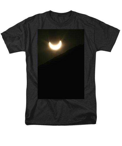 Men's T-Shirt  (Regular Fit) featuring the photograph Annular Solar Eclipse At Sunset Number 1 by Lon Casler Bixby
