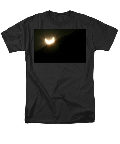 Men's T-Shirt  (Regular Fit) featuring the photograph Annular Solar Eclipse At Sunset Number 2 by Lon Casler Bixby