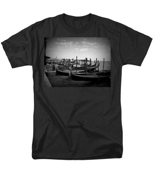 Men's T-Shirt  (Regular Fit) featuring the photograph Black And White Gondolas by Laurel Best