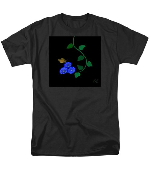 Men's T-Shirt  (Regular Fit) featuring the painting Blue Flower Butterfly by Rand Herron