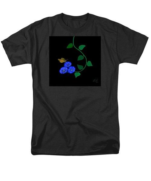 Blue Flower Butterfly Men's T-Shirt  (Regular Fit) by Rand Herron