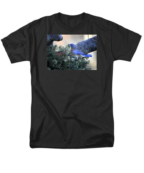 Men's T-Shirt  (Regular Fit) featuring the photograph Bluebird Christmas Wreath by Nava Thompson
