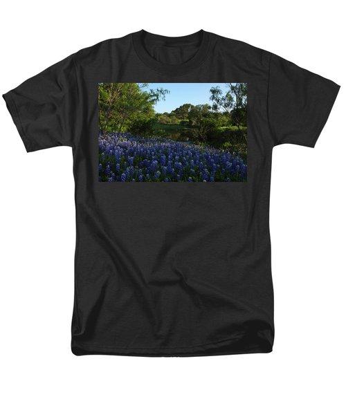 Men's T-Shirt  (Regular Fit) featuring the photograph Bluebonnets At The Pond by Susan Rovira