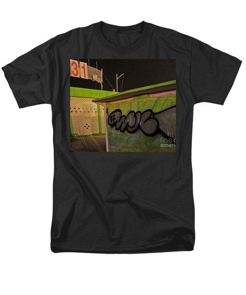 Men's T-Shirt  (Regular Fit) featuring the photograph Building 31 Rimini Beach Graffiti by Andy Prendy