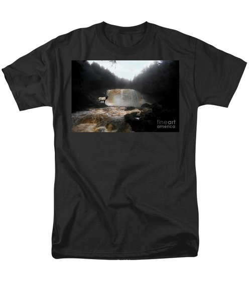 Men's T-Shirt  (Regular Fit) featuring the photograph Bull Elk In Front Of Waterfall by Dan Friend