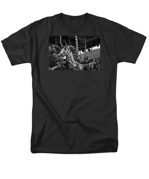 Men's T-Shirt  (Regular Fit) featuring the photograph Carousel Horses Mono by Steve Purnell