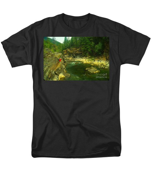 Cliff Over The Yak River Men's T-Shirt  (Regular Fit) by Jeff Swan