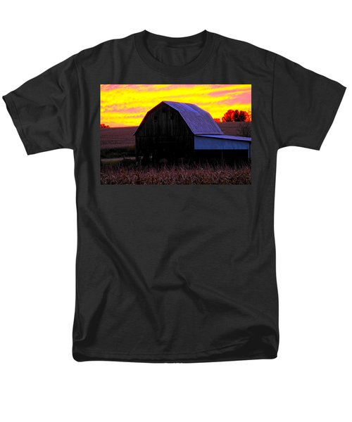 Men's T-Shirt  (Regular Fit) featuring the photograph Cornfield Barn Sky by Randall Branham