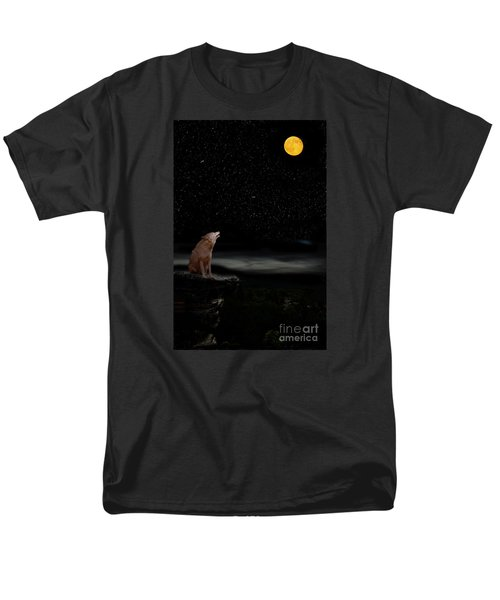 Men's T-Shirt  (Regular Fit) featuring the photograph Coyote Howling At Moon by Dan Friend