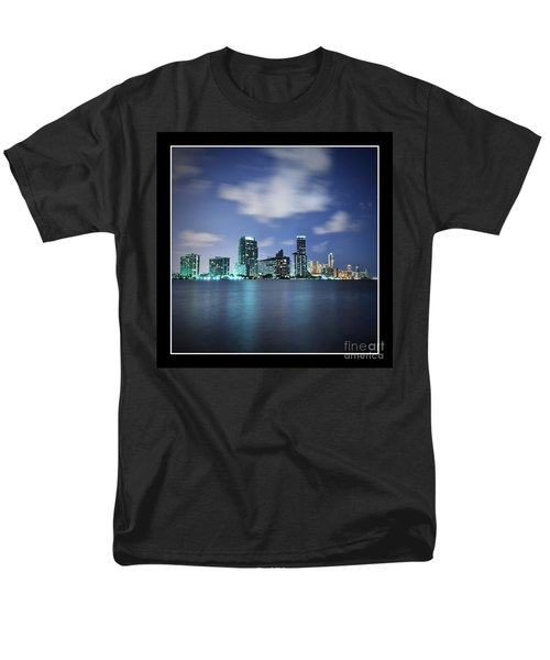 Men's T-Shirt  (Regular Fit) featuring the photograph Downtown Miami At Night by Carsten Reisinger