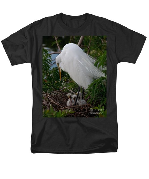 Men's T-Shirt  (Regular Fit) featuring the photograph Egret With Chicks by Art Whitton