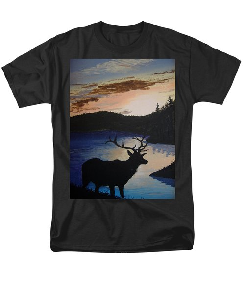 Men's T-Shirt  (Regular Fit) featuring the painting Elk At Sunset by Norm Starks