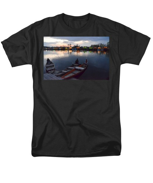 Evening On Dal Lake Men's T-Shirt  (Regular Fit) by Fotosas Photography