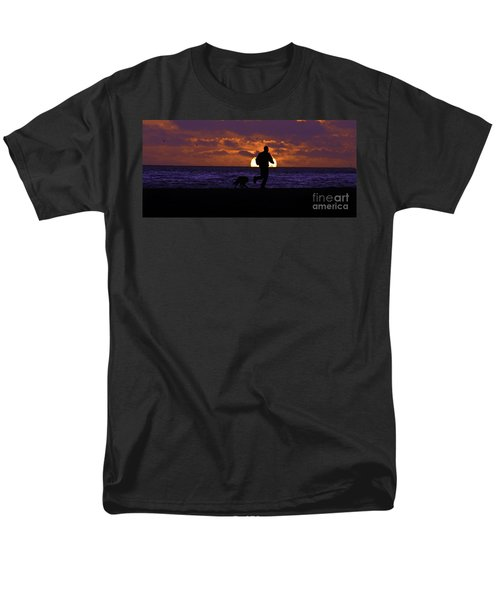 Men's T-Shirt  (Regular Fit) featuring the photograph Evening Run On The Beach by Clayton Bruster