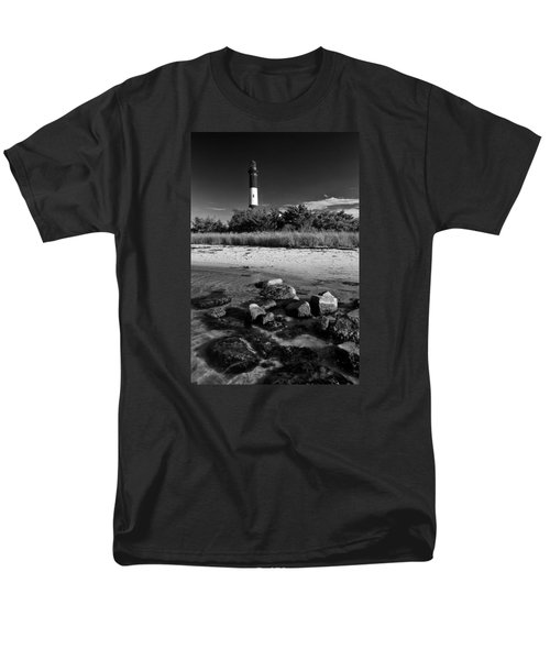 Fire Island In Black And White Men's T-Shirt  (Regular Fit)