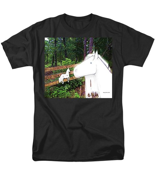 Men's T-Shirt  (Regular Fit) featuring the drawing Ghost Horse by George Pedro