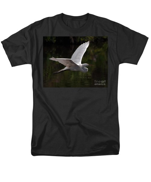 Men's T-Shirt  (Regular Fit) featuring the photograph Great Egret Flying by Art Whitton