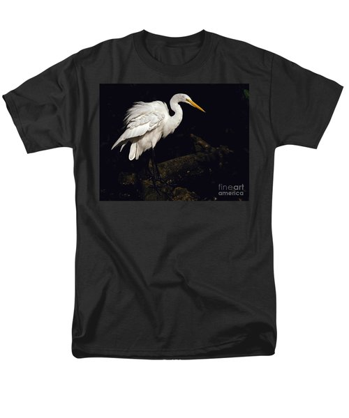Men's T-Shirt  (Regular Fit) featuring the photograph Great Egret Ruffles His Feathers by Art Whitton