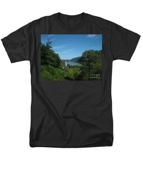 Men's T-Shirt  (Regular Fit) featuring the painting Harper's Ferry Long View by Mark Robbins