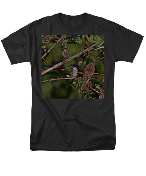 Men's T-Shirt  (Regular Fit) featuring the photograph Hummingbird Waiting For Dinner by EricaMaxine  Price