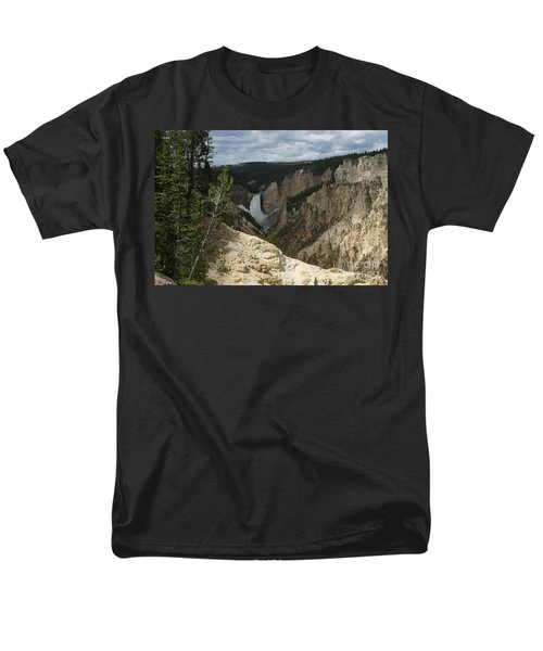 Men's T-Shirt  (Regular Fit) featuring the photograph Lower Falls Of Yellowstone by Living Color Photography Lorraine Lynch