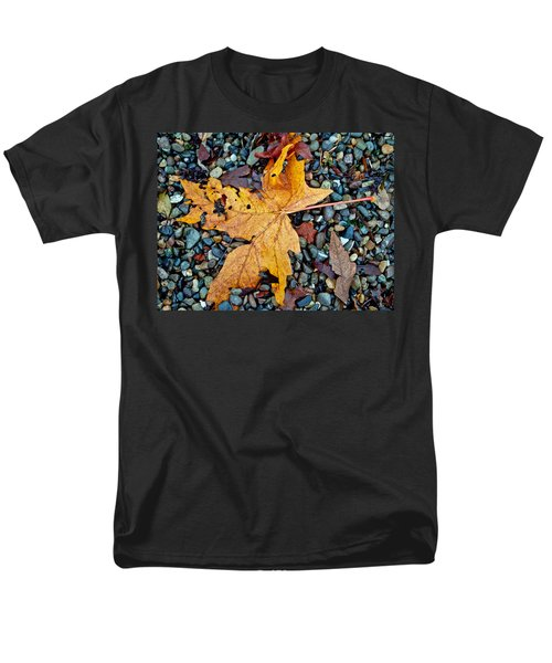 Men's T-Shirt  (Regular Fit) featuring the photograph Maple Leaf On The Rocks by Tikvah's Hope
