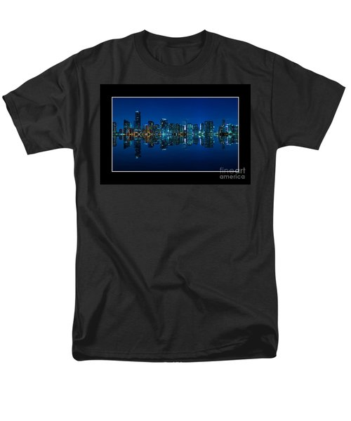 Men's T-Shirt  (Regular Fit) featuring the photograph Miami Skyline Night Panorama by Carsten Reisinger