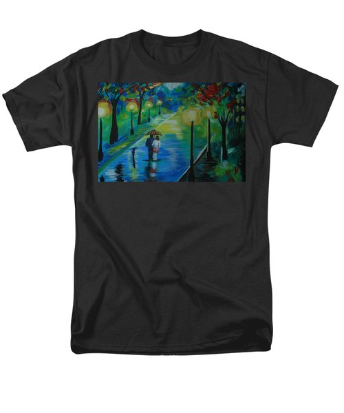 Men's T-Shirt  (Regular Fit) featuring the painting Moonlight Stroll Series 1 by Leslie Allen