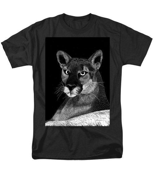 Men's T-Shirt  (Regular Fit) featuring the mixed media Mountain Lion by Kume Bryant