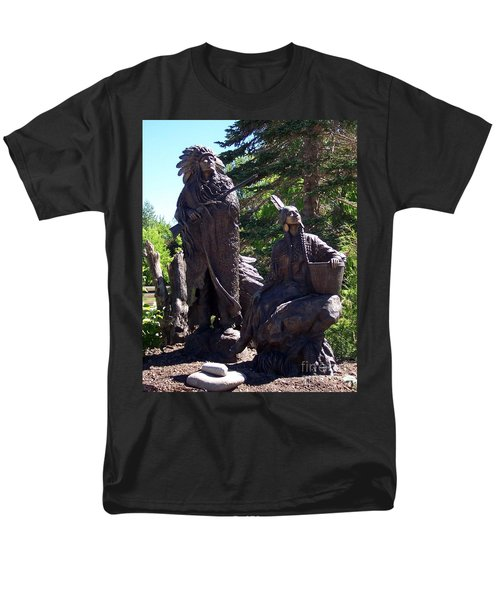 Men's T-Shirt  (Regular Fit) featuring the photograph Native American Statue by Chalet Roome-Rigdon