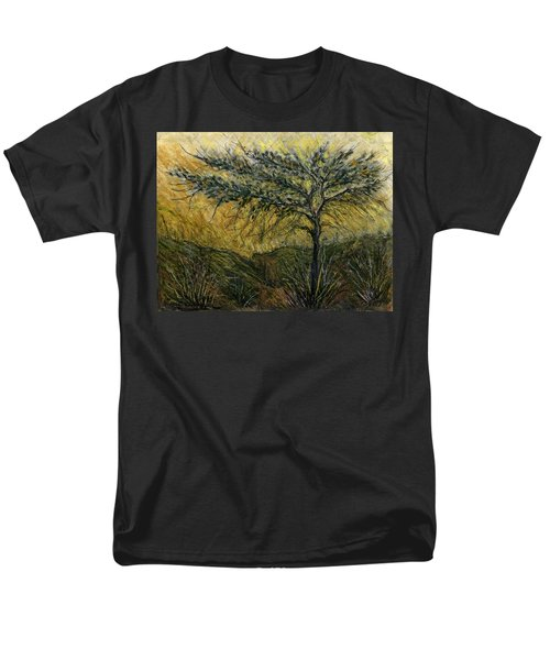 Nature Landscape Green Thorns Acacia Tree Flowers Sunset In Yellow Clouds Sky  Men's T-Shirt  (Regular Fit) by Rachel Hershkovitz