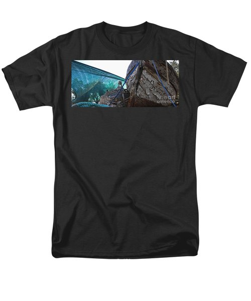 Men's T-Shirt  (Regular Fit) featuring the photograph Old Boat And Flagons by Andy Prendy