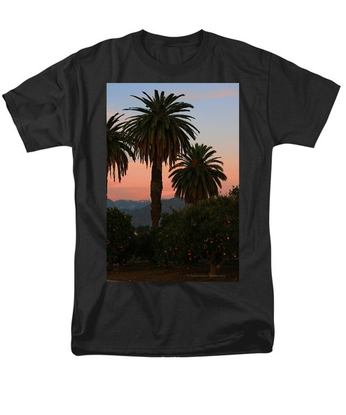 Palm Trees And Orange Trees Men's T-Shirt  (Regular Fit) by Dorothy Cunningham