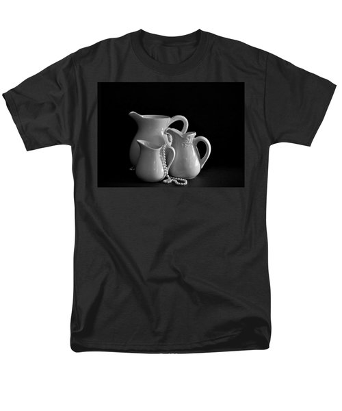 Men's T-Shirt  (Regular Fit) featuring the photograph Pitchers By The Window In Black And White by Sherry Hallemeier