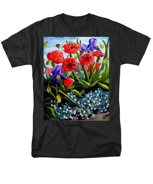 Poppies And Irises Men's T-Shirt  (Regular Fit) by Renate Nadi Wesley