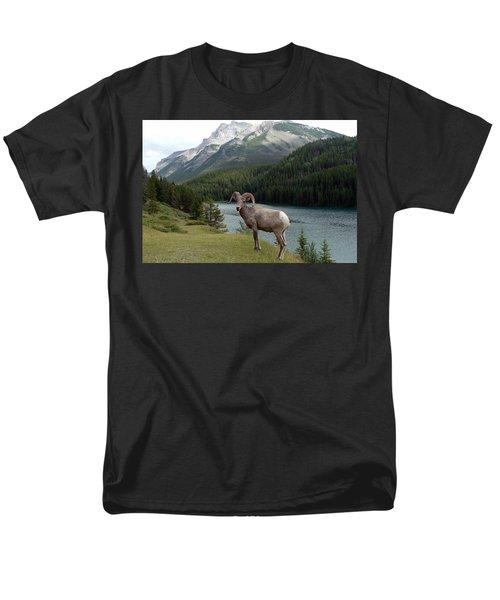 Portrait Of A Bighorn Sheep At Lake Minnewanka  Men's T-Shirt  (Regular Fit) by Laurel Best
