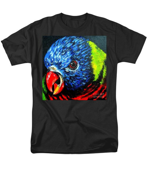 Men's T-Shirt  (Regular Fit) featuring the painting Rainbow Lorikeet Look by Julie Brugh Riffey