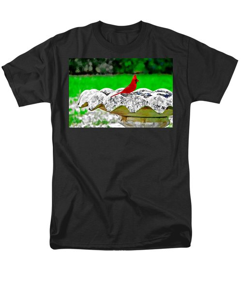Red Bird In Bath Men's T-Shirt  (Regular Fit) by Tom Culver