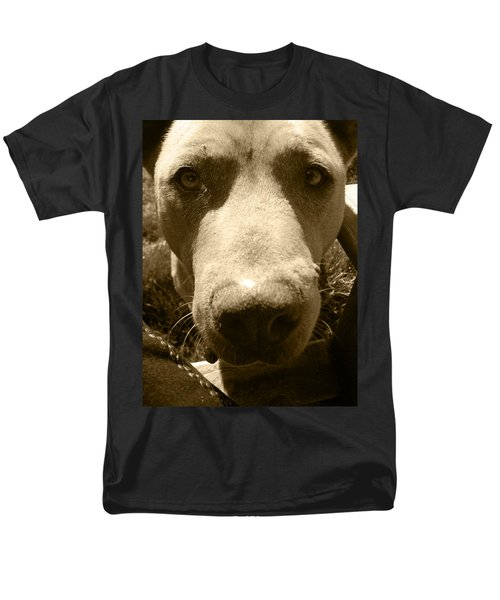 Men's T-Shirt  (Regular Fit) featuring the photograph Roscoe Pitbull Eyes by Kym Backland