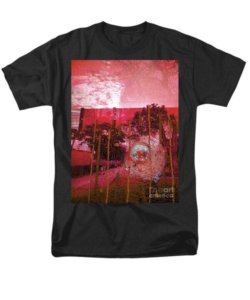 Men's T-Shirt  (Regular Fit) featuring the photograph Abstract Shattered Glass Red by Andy Prendy