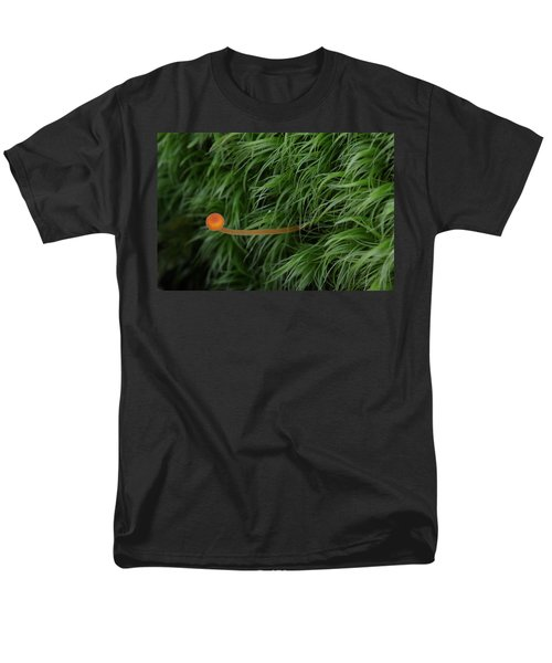 Men's T-Shirt  (Regular Fit) featuring the photograph Small Orange Mushroom In Moss by Daniel Reed