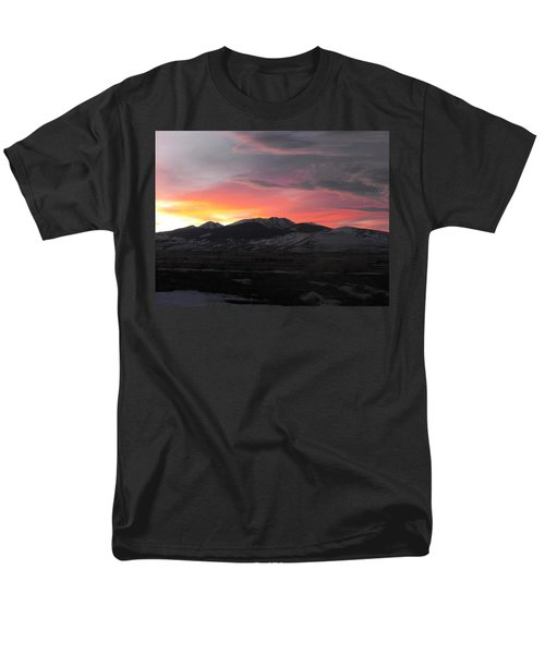 Snow Covered Mountain Sunset Men's T-Shirt  (Regular Fit) by Adam Cornelison