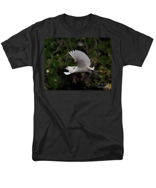 Men's T-Shirt  (Regular Fit) featuring the photograph Snowy Egret In Flight by Art Whitton